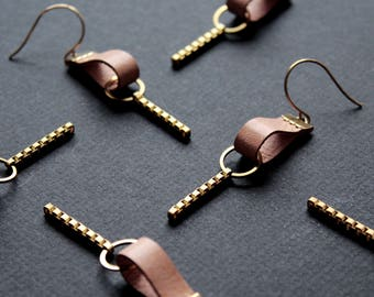 Geometric leather earrings modern teardrop earrings leather bar earrings dangle drop earrings long pink tan gold chain brass -Paige Earrings