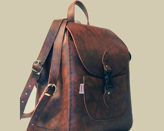 Leather Rucksack Leather Backpack Practical Backpack Rucksack Brown Leather Rucksack Brown Backpack