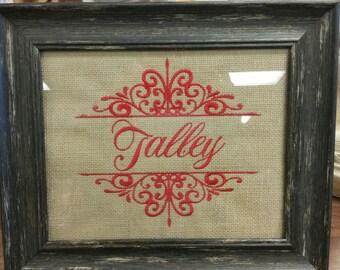 Framed Family Names Embroidered