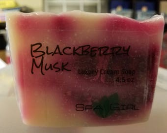 Blackberry Musk Luxury Cream Soap (cold process) 4.5 oz with Heavy Cream, shea butter & Cocoa Butter
