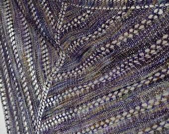Moa Shawl - Lace Knit Triangle Scarf in Soft Hand-Dyed Superwash Wool - Deep Purple, Bronze, Gold Highlights - Boho Women's Handmade Fashion