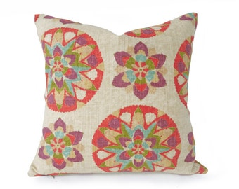 Suzani Pillow, Colorful Pillows, Boho Pillows, Couch Cushions, Throw Pillow Covers, Cream, Coral, Red Purple, 18x18, 20x20, Lumbar, SALE