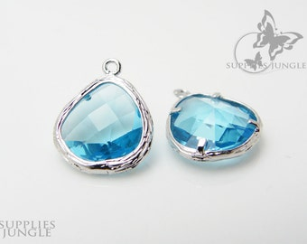 F100-S-IB// Rhodium Framed Ice Blue Faceted Glass Stone Pendant, 2 pcs