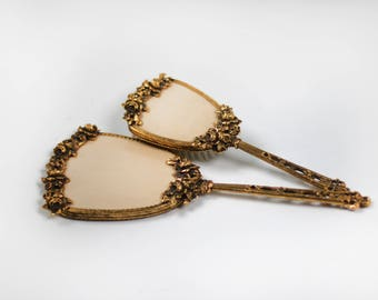 Floral Rare Victorian Vintage Bronze Vanity Set, Vintage Matson Ormolu Ornate Vanity Era Gold Floral Antique Hand Mirror, Vintage Hair Brush