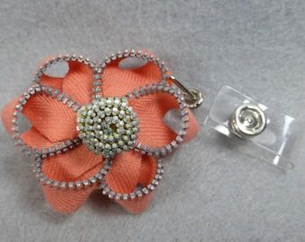 ID Badge Reel Made-to-Order, Orange Zipper Flower, Name Badge Holder, Upcycled-Recycled -Repurposed, ID Badge Holder, Retractable Badge Reel