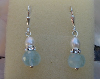 Earrings with aquamarine and 925 Silver Pearl! Magical!