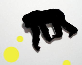 Chimpanzee Pin, Animal Brooch in Black Laser cut Acrylic, Chimp Brooch