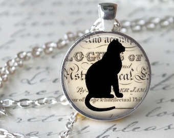 BLACK CAT Pendant Necklace Cat Lover Jewerly Vintage halloween Black Kitten jewerly Black Silhouette Pendant necklace