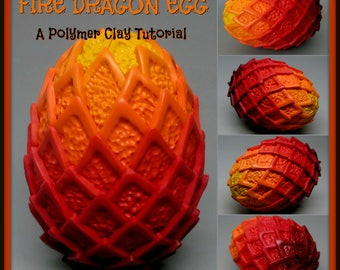 Fire Dragon Scale Egg,  A Polymer Clay PDF Tutorial, Decorated Egg Paperweight, Fantasy Decor, GOT
