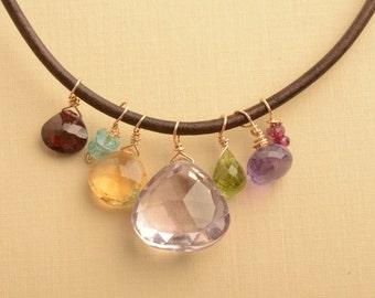 Amethyst Necklace, Gemstone Leather Necklace, February Birthstone, Healing Gemstone Jewelry, Purple Gemstone Necklace