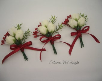 Mini Rose Boutonniere with Red Accents, Groomsmen Rosebud, Christmas or Winter Wedding, 1 Lapel pin only