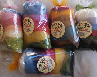 All-Naturally Dyed Wool Roving-Potpourris Mix 50g, Merino, Romney or Alpaca, seasonal colour mix