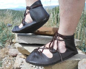 Medieval Sandal, Handmade to Order, Soft Sole Sandal, Renaissance Faire, Natural Leather Shoe, Woodland, Fairy, Pixie, Festival Wear