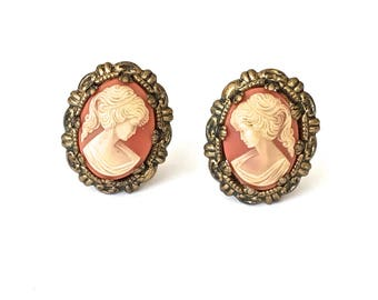 Cameo Filigree Earrings  Clip Ons  Made In West Germany  Lucite  Faux Cameo Earrings  Gold Tone  Prong Setting  1950s  Vintage Gift For Her