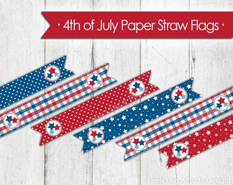 4th of July Paper Straw Flags - Instant Download