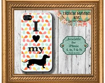 Dachshund iPhone Case, Love my dog iPhone Case, iPhone 4, iPhone 4s, iPhone 5, 5s, 5c, iPhone 6, 6s, 6 Plus, SE, iPhone 7, 7 Plus