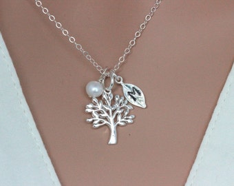 Mothers day gift Grandma - Sterling Silver Tree of Life Necklace - Family Tree Necklace - Personalized Tree necklace - Family Jewelry - Tree
