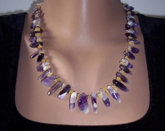 Statement necklace Amethyst necklace Purple necklace Raw citrine necklace Raw amethyst February birthstone gift Boho necklace Womens gift