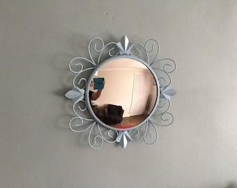 1950's vintage convex painted metal mirror