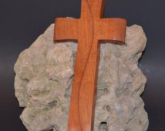 "Wooden Wall Cross; 5""x9""x1""; Rustic Cabin Decor;  Wall Cross Decor; Crooked Cross; Mesquite; Handmade;  Free Ground Shipping cc20-1121617"