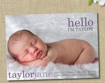 baby girl birth announcement. custom photo card. hello