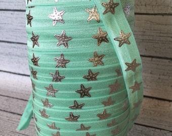 """Aqua Starfish Fold Over Elastic - Starfish FOE - 5/8"""" FOE - Star Fish Elastic"""