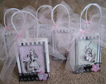 Alice in Wonderland Party Favor Bags - Set of Six - Black and White with a Hint of Color