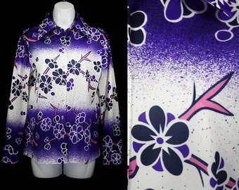 7 Dollar Sale---Vintage 70's SEARS Purple Pink & White Floral Pattern Blouse M