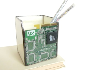 Circuit Board Pencil Holder Stained Glass Geekery Computer Mens Handmade OOAK