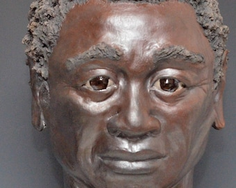 Figurative Sculpture African Man Bust Raku Ceramics by Anita Feng