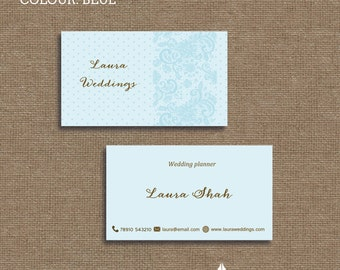 Printable stylish elegant vintage lace and dot,  business card, calling card for your business in a choice of 3 colours