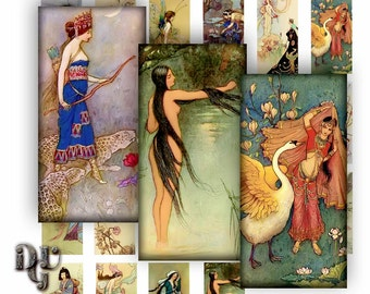 """Warwick Goble FAIRY TALES Digital Printable Collage Sheet  Medieval Fairytales Illustrations 1"""" x 2"""" Digital Collage Sheet Domino Tile R015"""