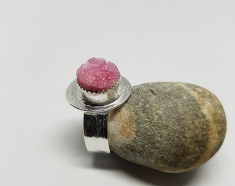 Druzy Ring Sterling Silver Ring Gemstone Ring Pink Ring