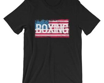 Boxing Shirt / US Flag Shirt / Vintage Flag Shirt / American Boxing Shirt / American Flag Shirt / Boxer Shirt