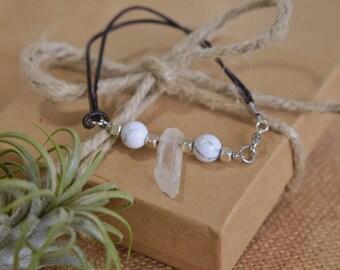White Howlite Beads and Quartz Point on Leather Cord, Gemstone Bracelet