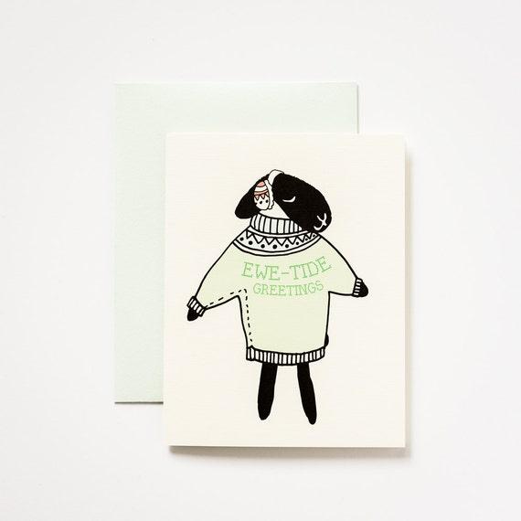Ewetide Sheep Holiday Greeting Set of 5 Greeting Cards