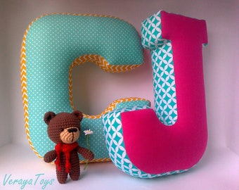 Letter J pillow - Custom letter - Fabric letter - Nursery decor - Housewarming gift - Personalized pillow - Baby name sign - Letter cushion