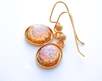 Fire opal earrings, gold fire glass opal earrings, opal bridesmaid jewelry, opal bridesmaid earrings,  opal jewelry