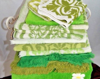Vintage Bath & Hand Towels ~ Shades of Green Cannon St. Mary's  Fieldcrest set of 12