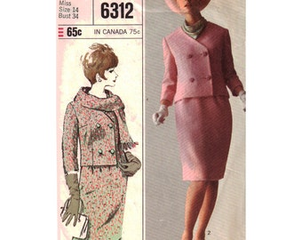 Simplicity Sewing Pattern 6312 Misses' Suit, Jacket, Skirt - estimated vintage 1965  Size:  14  Bust 34  Used