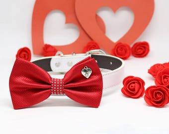 Red Dog Bow tie Collar, Charm (Heart Paws), Valentine's Day, Pet wedding accessory, Polka Dots