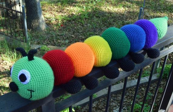 Amigurumi Caterpillar : Large crochet rainbow caterpillar plush stuffed toy
