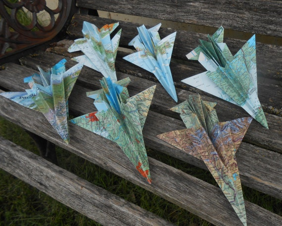 Vintage MAP Paper Airplanes. F-16, Military, Escort Cards, Wedding Decoration, Place Cards, Travel Wedding, Seating Card. Wedding Favor