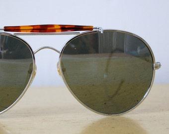 Vintage 1980s Aviator Mirror Sunglasses with Curve Ear Hook