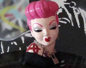 Punky Pink Custom Painted Head Vase ~ ReVamped Vintage Punk Rock Vase