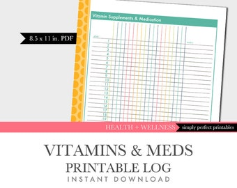 Vitamin and Medication Tracking Log - Printable - Letter Size - Planner Insert - Instant Download