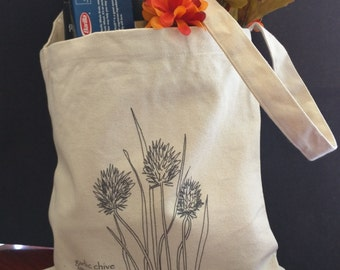 """Canvas Market Tote with Original Line Drawings """"Garlic Chives"""""""