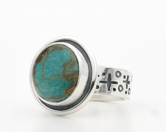 Turquoise Ring, Natural Turquoise, Evans Turquoise, Hand Made Ring, Sterling Silver Ring, Turquoise Jewelry