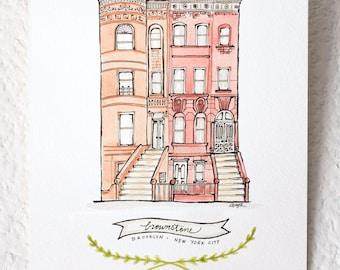 Brooklyn Brownstone - Watercolor Art Print, Illustration