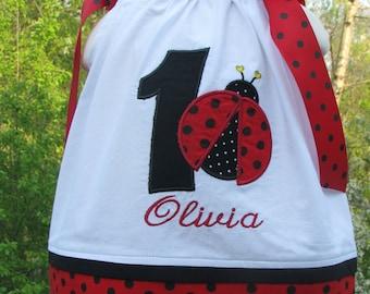 red polka dot ladybug pillowcase dress, 1st birthday dress, ladybug birthday dress,red ladybug